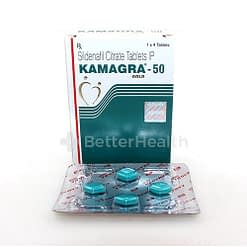 Kamagra front shot with tablets